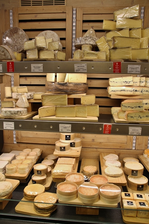 a variety of cheeses in a cheese shop