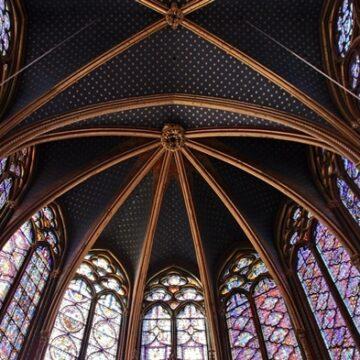 Interior of La Sainte Chapelle church in Paris, France