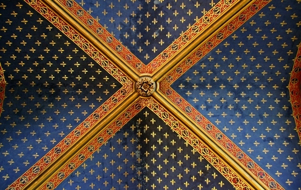 close up of blue and gold ceiling in Sainte-Chapelle church