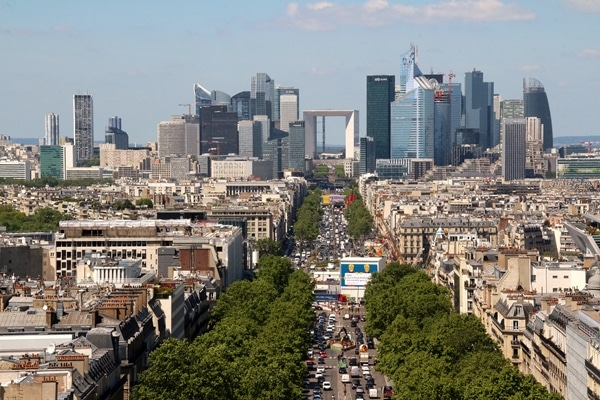 view of the La Defense business area in Paris from the Arc de Triomphe