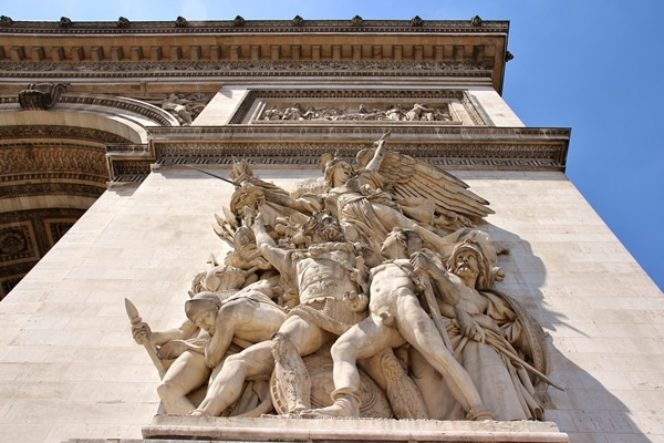 closeup of a sculpture on the side of the Arc de Triomphe