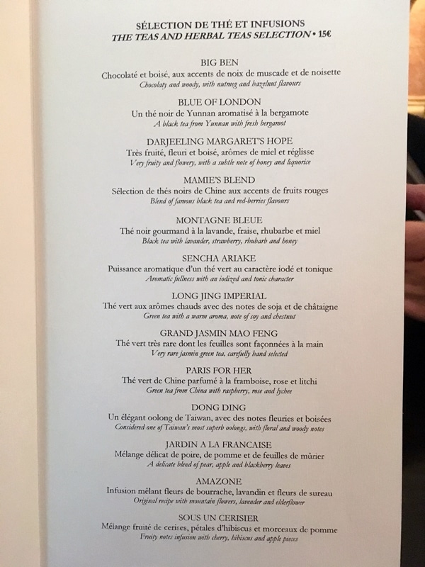 a menu of various teas