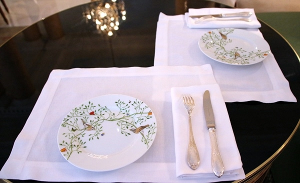 elegant table setting on a small round table