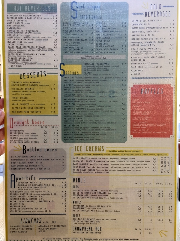 a colorful restaurant menu