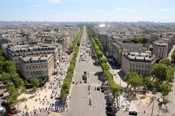 A view of Champs-Élysées from the top of the Arc de Triomphe
