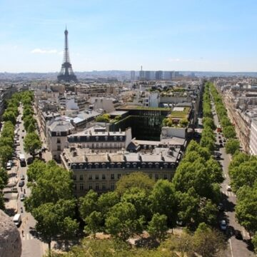 View of Eiffel Tower from the top of the Arc de Triomphe in Paris, France