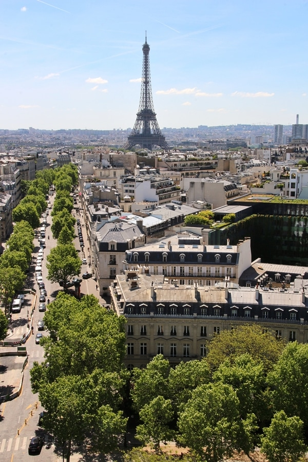view of the Eiffel Tower from the top of the Arc de Triomphe