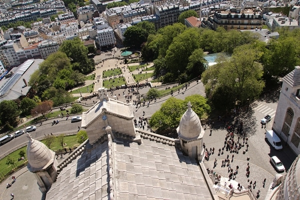 view of Montmartre in Paris from church dome