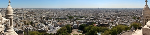wide panoramic view of Paris from hilltop
