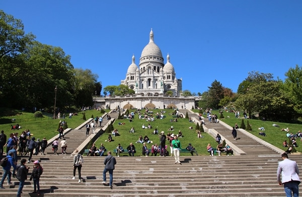 view of Sacre Coeur from the bottom of a hill