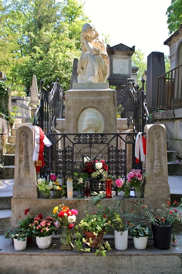 Chopin\'s grave surrounded by flowers