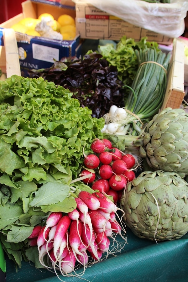 A display of fresh produce at a farmer\'s market