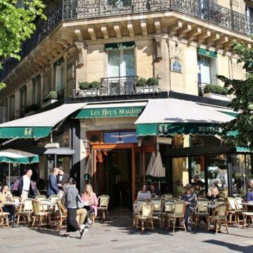 Exterior of Les Deux Magots in Paris, France