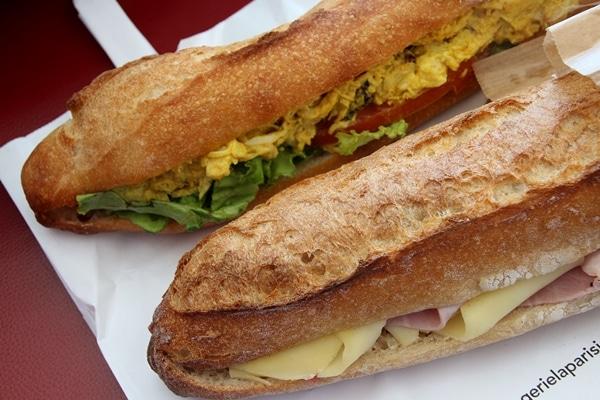 2 baguette sandwiches
