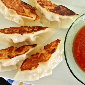 Chicken parmesan dumplings with marinara sauce