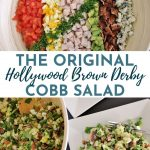 a large cobb salad with rows of toppings arranged in perfect lines