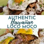 Loco Moco or Hawaiian hamburger steak: a burger patty on rice topped with gravy and a fried egg