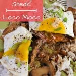 Loco Moco or Hawaiian hamburger steak: a burger patty on rice topped with gravy and a fried egg, cut in half to show interior