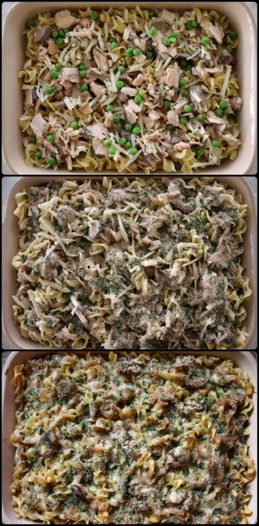 step by step photos of assembling a tuna noodle casserole