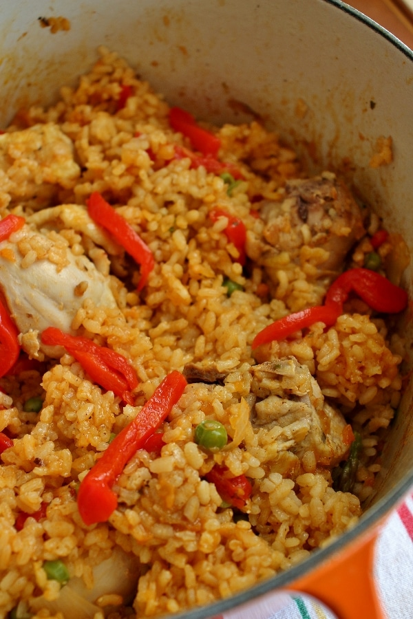Arroz con pollo (chicken and rice) in a Dutch oven