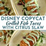 Grilled fish tacos with cilantro-lime mayo drizzled over the top, served on flour tortillas