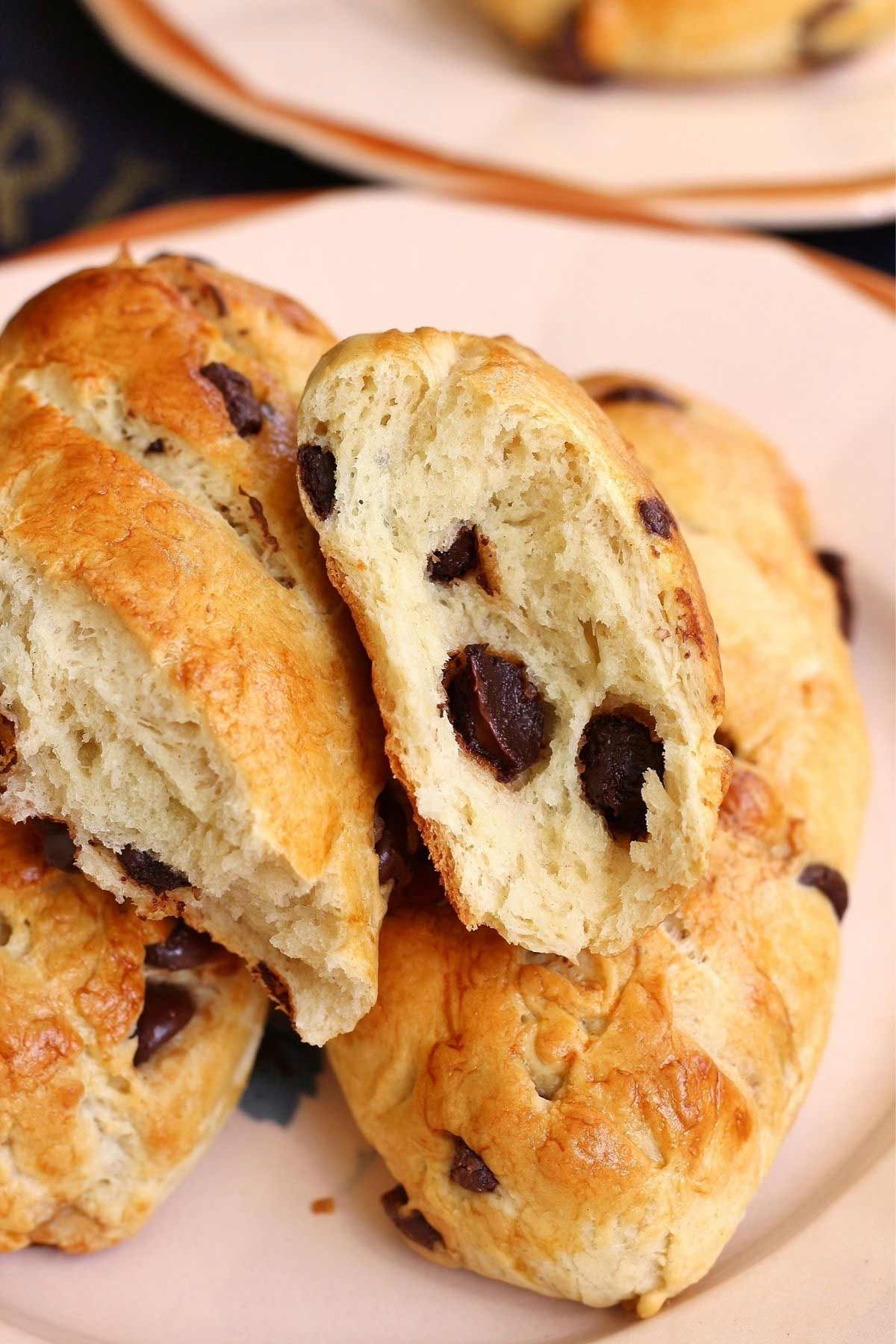 Closeup of a cross-section of a chocolate chip Vienna bread with molten chocolate chips.