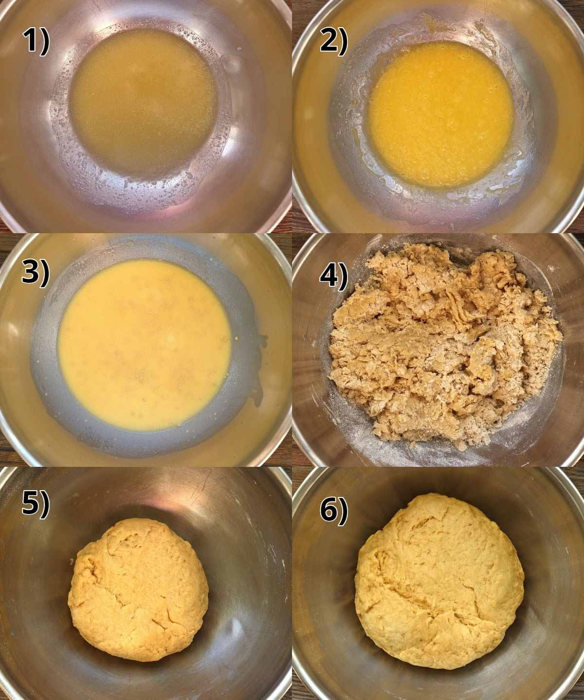Step-by-step photos of making Viennoise dough in a metal mixing bowl.