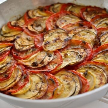 Remy's ratatouille (confit byaldi), layered eggplant, zucchini, and tomatoes