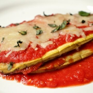Eggplant parmesan stack with tomato sauce and cheese