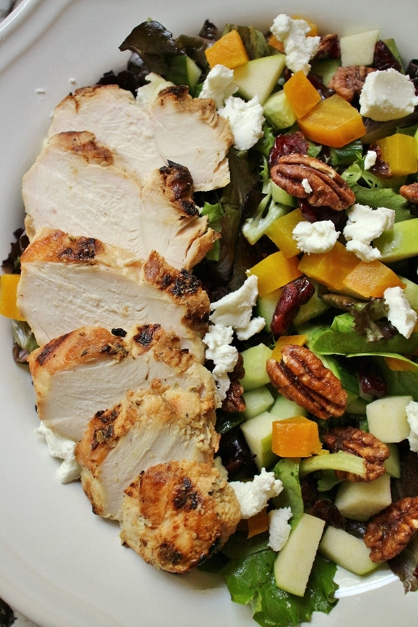 closeup of a salad with chicken
