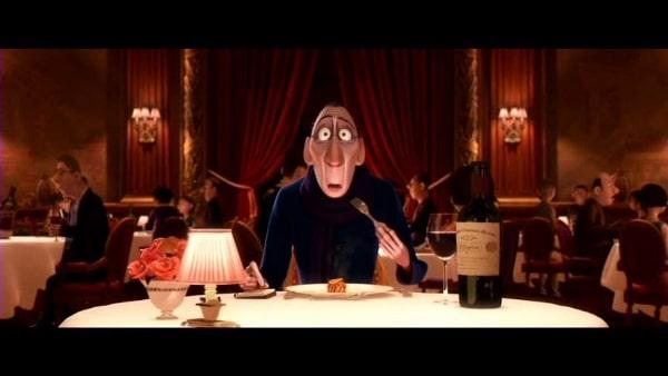 screenshot of Anton Ego in Ratatouille eating ratatouille