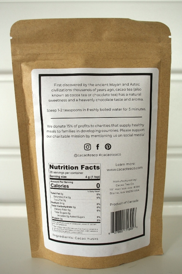 The back of a bag of Cacao tea showing nutritional information and brewing instructions