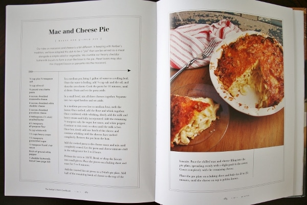 a photo of a cookbook spread showing mac and cheese pie