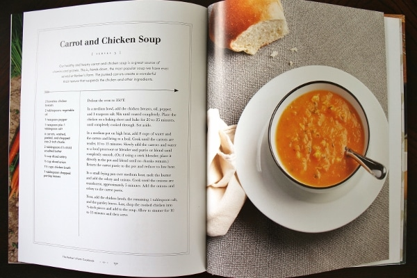 a photo of a cookbook spread showing soup