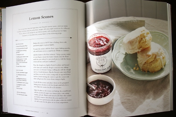 a photo of a cookbook spread showing lemon scones