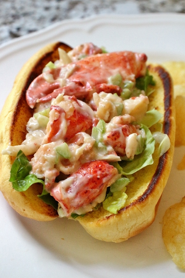 Lobster roll in a buttered, toasted bun