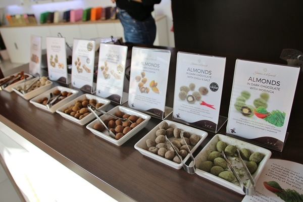 chocolate samples in small square dishes