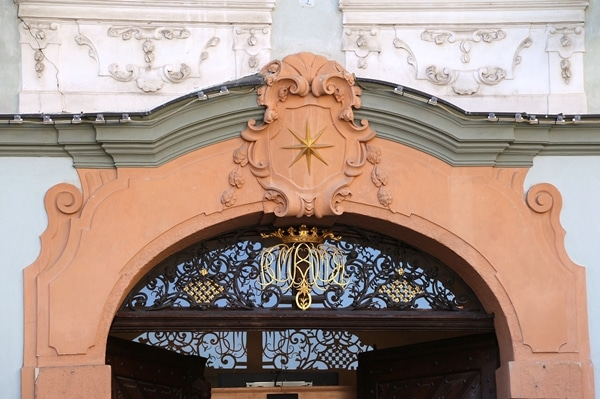 a gold star over a doorway