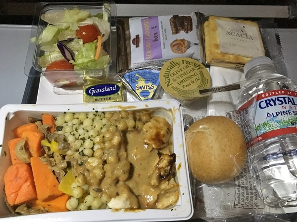 a tray of airplane food