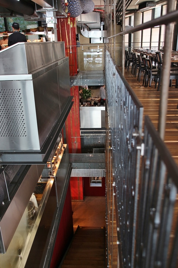 interior of a restaurant showing several floors of seating
