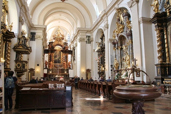 the interior of a large church