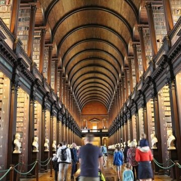 Long Room at Trinity College Library in Dublin, Ireland