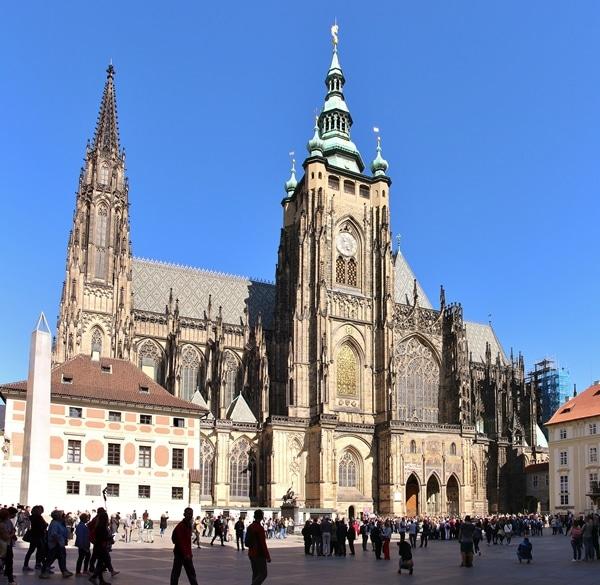 the massive church at Prague Castle