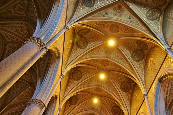 vaulted ceiling in a large church