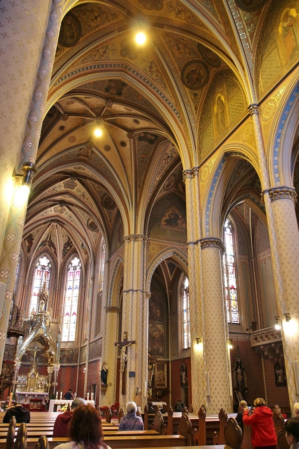 interior of a large church with vaulted ceilings