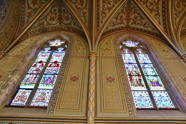 elaborately painted walls and ceiling in a church