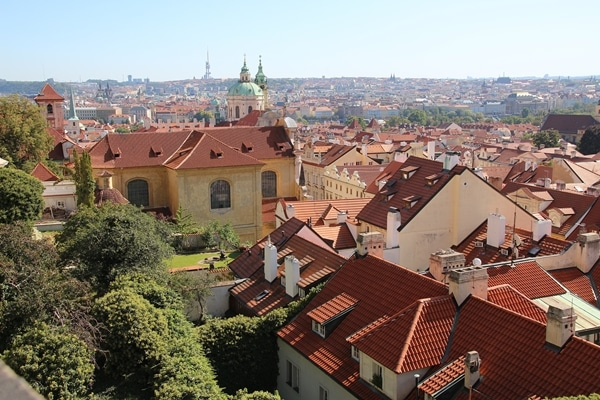 a view of buildings with red roofs stretching into the distance