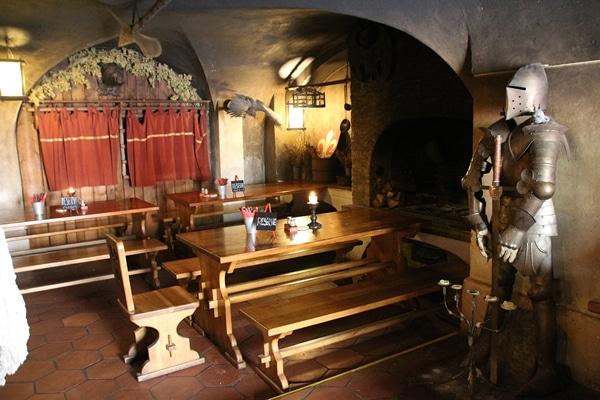 interior of a dark medieval themed restaurant