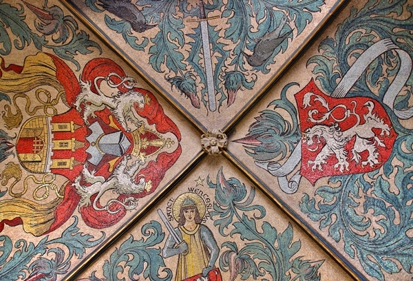 an elaborately painted vaulted ceiling