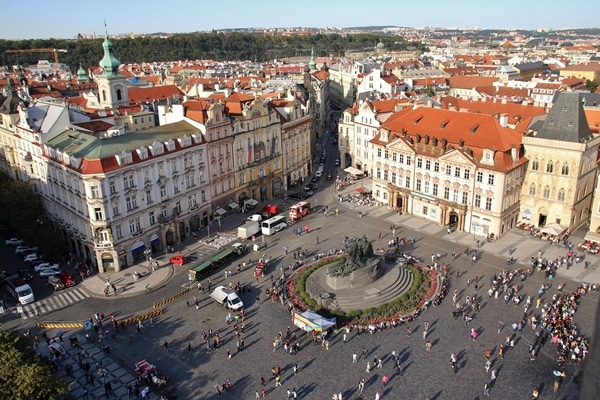 a large square in Prague, as seen from above